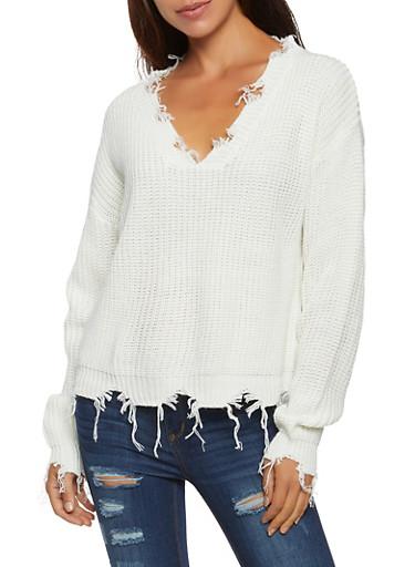 Frayed Knit Sweater,IVORY,large