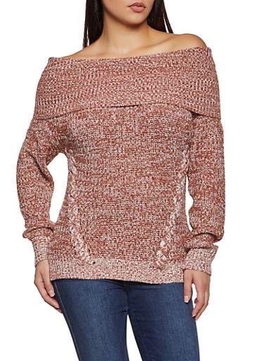 Marled Off the Shoulder Sweater,BROWN,large