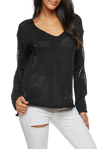 Ripped Braided Knit Sweater,BLACK,large