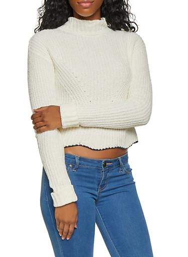 Mock Neck Scallop Hem Sweater,IVORY,large