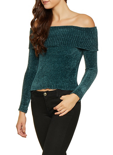 Long Sleeve Off the Shoulder Sweater,TEAL,large