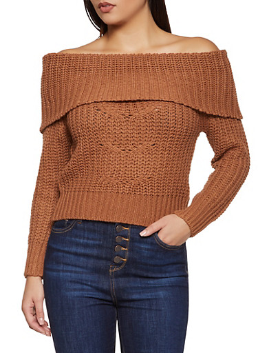 Off the Shoulder Lace Up Back Sweater,BROWN,large
