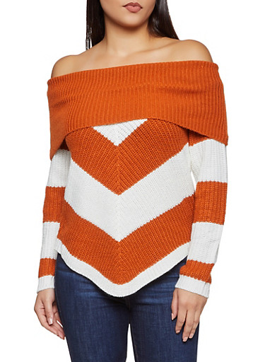 Chevron Lace Up Back Off the Shoulder Sweater,BROWN,large