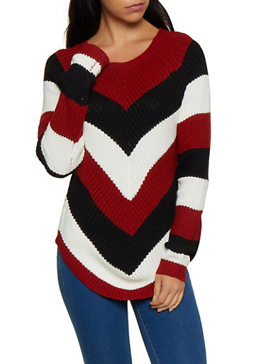 Chevron Knit Sweater,RED,large