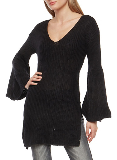 Long Bell Sleeve Knit Sweater,BLACK,large