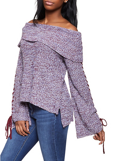 Lace Up Off the Shoulder Sweater,WINE,large