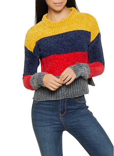 Color Block Chenille Sweater,MULTI COLOR,large
