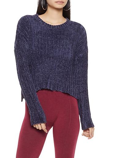 Crew Neck Chenille Sweater,NAVY,large
