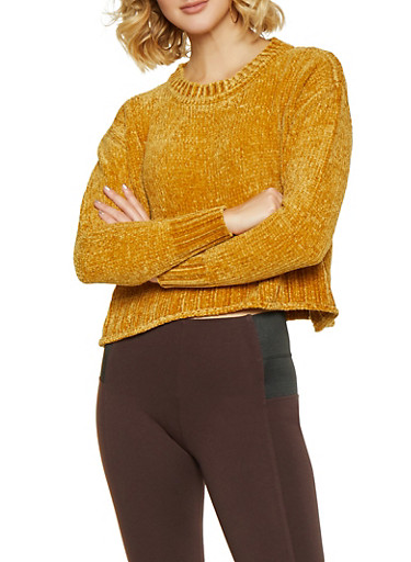 Crew Neck Chenille Sweater,MUSTARD,large