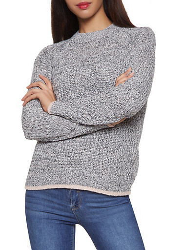 Contrast Trim Sweater,GRAY,large