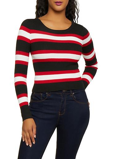 Long Sleeve Striped Sweater,BLACK,large