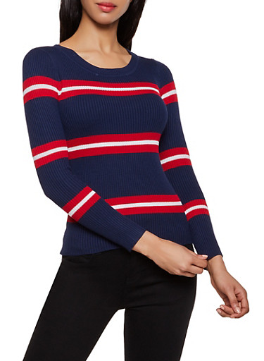 Striped Crew Neck Sweater | 3020034281849,NAVY,large