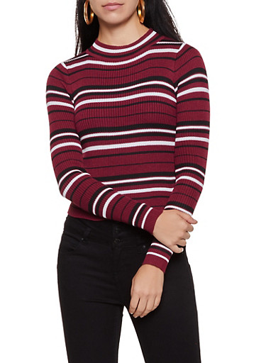 Striped Mock Neck Sweater | 3020034281888,ROSE,large