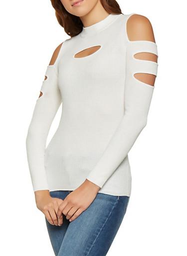 Cutout Ribbed Mock Neck Sweater,IVORY,large