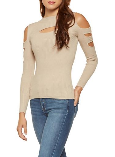 Ribbed Cold Shoulder Sweater,BEIGE,large