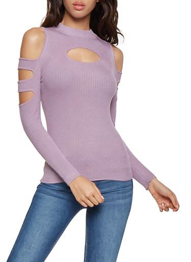 Slashed Sleeve Cold Shoulder Sweater,PURPLE,large