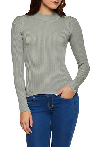 Solid Rib Knit Sweater,HEATHER,large