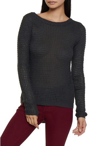 Long Sleeve High Low Knit Sweater,CHARCOAL,large
