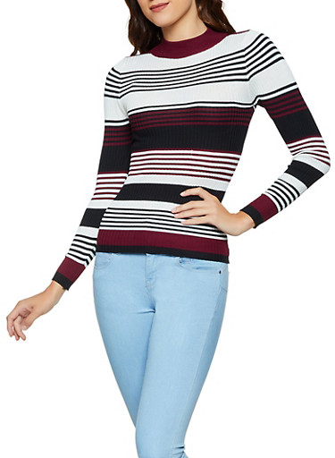 Striped Mock Neck Sweater | 3020038344422,BLACK,large