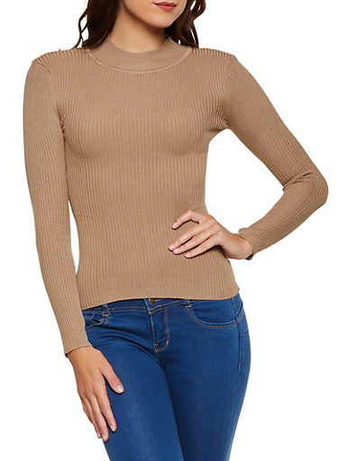 Solid Mock Neck Ribbed Sweater,KHAKI,large