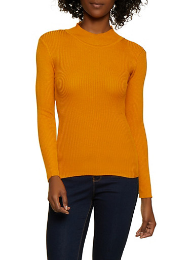 Solid Mock Neck Sweater,MUSTARD,large