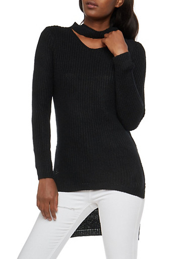 Long Sleeve High Low Choker Neck Sweater,BLACK,large