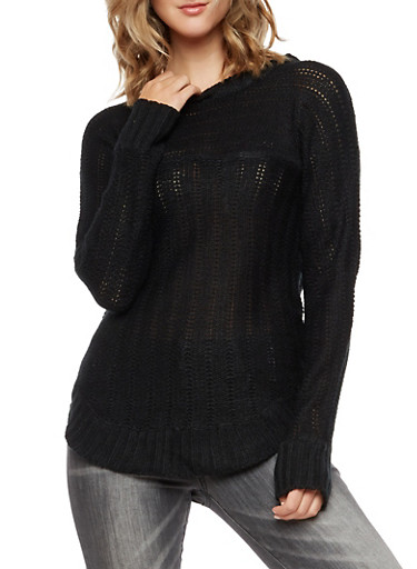 Crew Neck Knit Sweater,BLACK,large