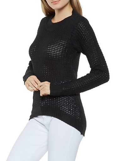 Long Sleeve Knit Sweater,BLACK,large