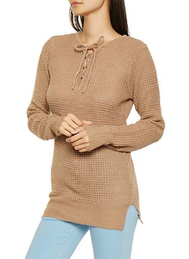 Lace Up Knit Sweater,KHAKI,large