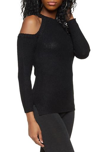 Knit Cold Shoulder Sweater,BLACK,large