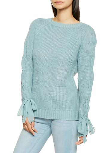 Lace Up Sleeve Knit Sweater,BABY BLUE,large