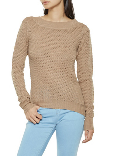 Knit High Low Sweater,KHAKI,large