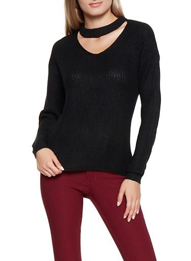 Choker Neck Sweater,BLACK,large