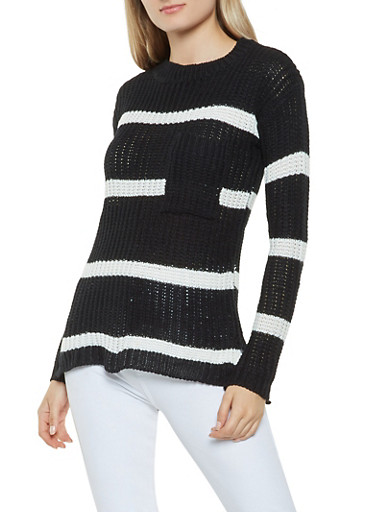 Striped Crew Neck Sweater,BLACK,large