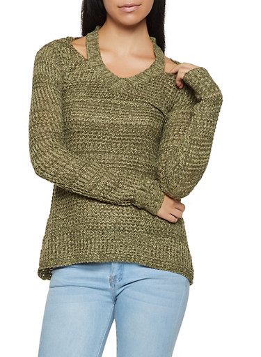 Cut Out Waffle Knit Sweater,OLIVE,large