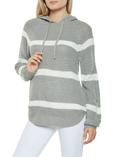 Striped Hooded Sweater,HEATHER,large