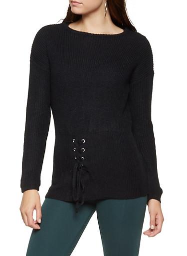 Lace Up Waist Sweater,BLACK,large