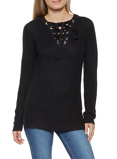 Lace Up Sweater,BLACK,large