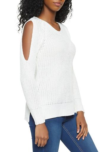 Slit Sleeve Lace Up Back Sweater,IVORY,large