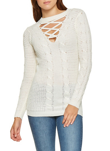 Lace Up Cable Knit Sweater,IVORY,large