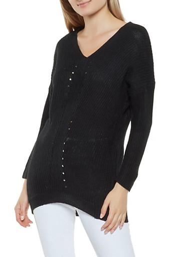 High Low V Neck Sweater,BLACK,large