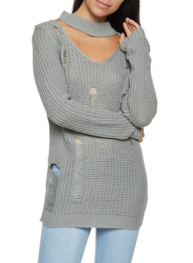 Distressed Keyhole Sweater,HEATHER,large