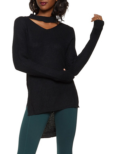 Choker Neck High Low Sweater,BLACK,large
