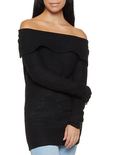 Off the Shoulder Sweater,BLACK,large