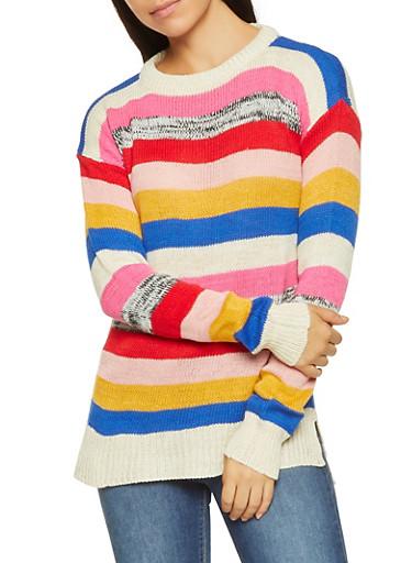 Multi Color Striped Sweater,MULTI COLOR,large