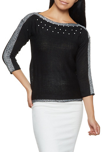 Shimmer Knit Faux Pearl Sweater,BLACK,large