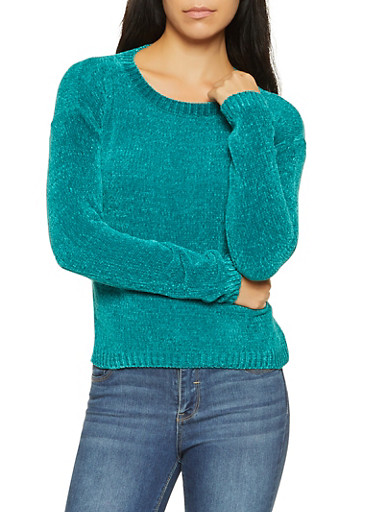 Chenille Sweater,TEAL,large