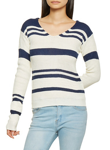 Lace Up Back Striped Sweater,NAVY,large