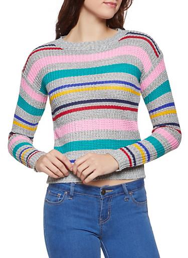 Striped Knit Sweater,GRAY,large