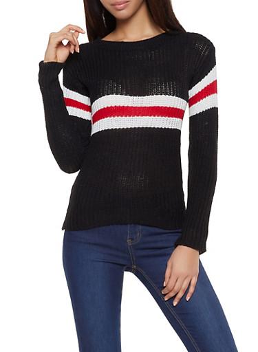 Stripe Detail Crew Neck Sweater,BLACK,large
